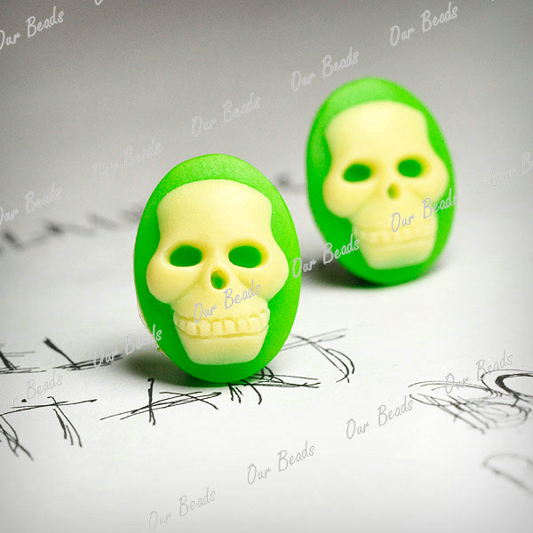 4-Yellow-Green-Vintage-Flatback-Skull-Resin-Cameo-Cabochon-Bead-18x13mm-RB762-11