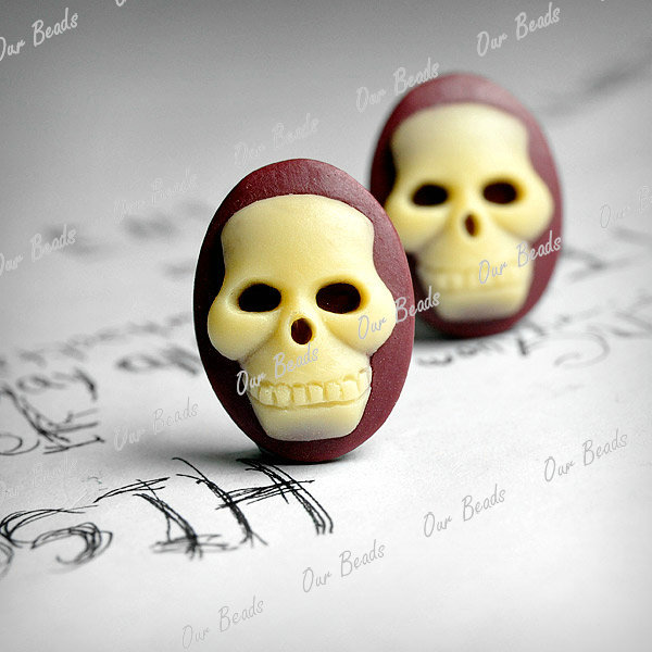 4-Yellow-Wine-Red-Vintage-Flatback-Skull-Resin-Cameo-Cabochon-Bead-18x13-RB762-8