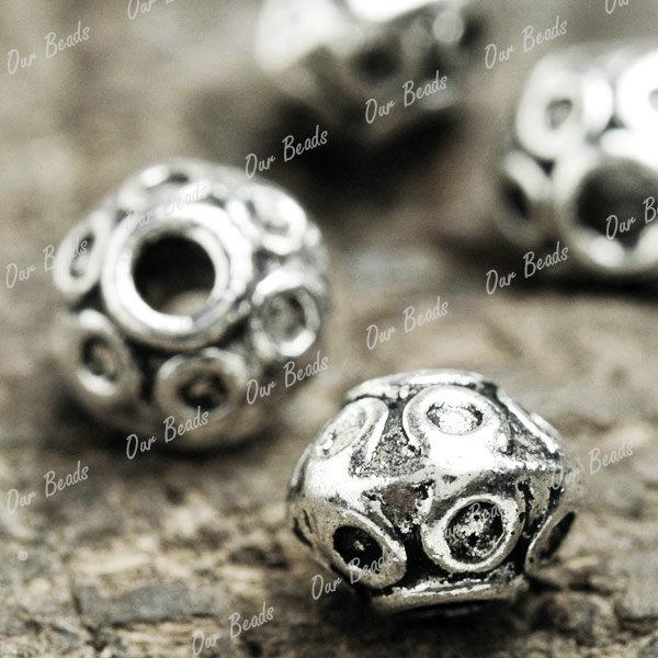 100-Tibet-Tibetan-Silver-Round-Spacers-Beads-TS1393