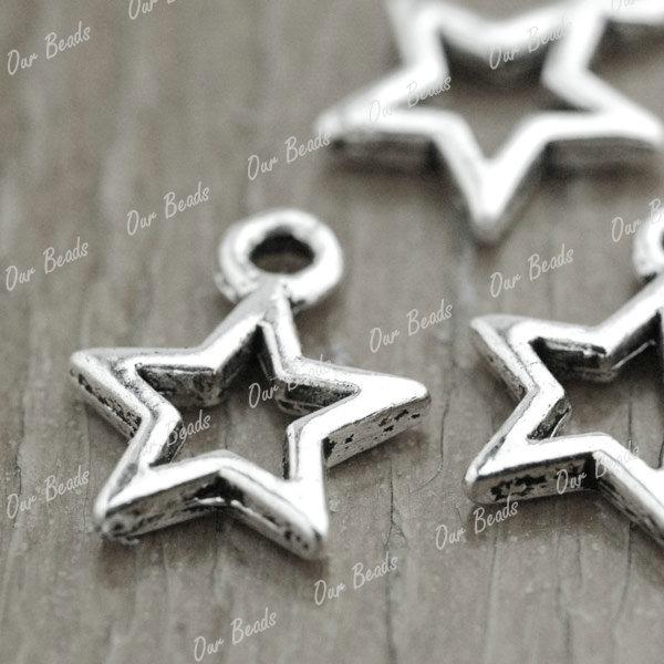 150-Tibet-Style-Tibetan-Silver-Star-Charm-Pendant-Drops-Findings-TS3274