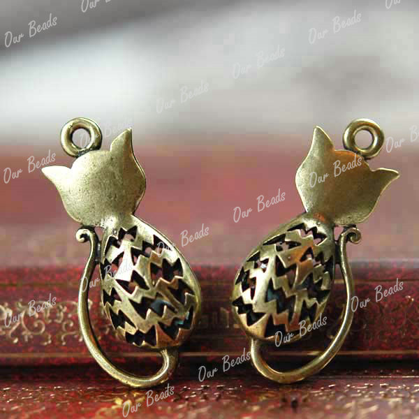 5-pcs-Antique-Bronze-Cat-Charms-Pendants-Quality-TS7350