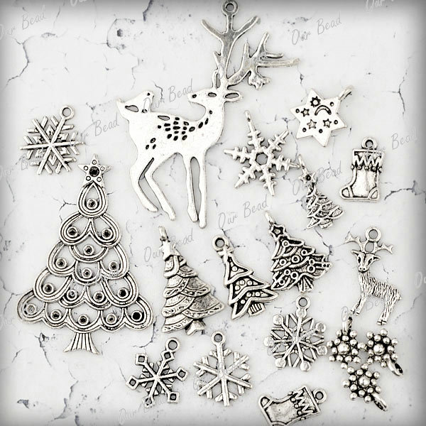 Free-Ship-16pcs-Antique-Tibetan-Silver-Mixed-Christmas-Charms-Pendants-Deer-Tree