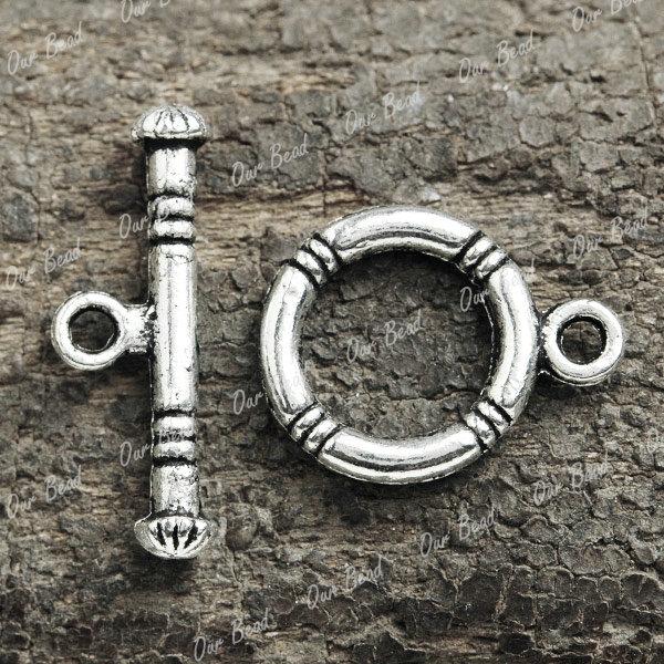 80pcs-Antique-Tibetan-silver-round-plain-Bar-Ring-Toggle-Clasps