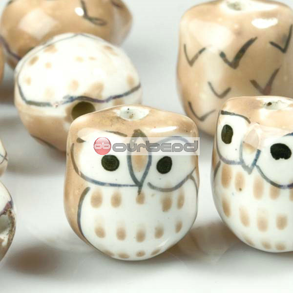 10-Pcs-Yellow-Porcelain-Owl-Beads-15mm-PB0010