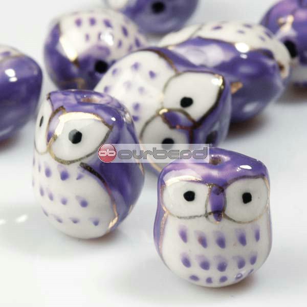 10-Pcs-Purple-Porcelain-Owl-Beads-15mm-PB0012