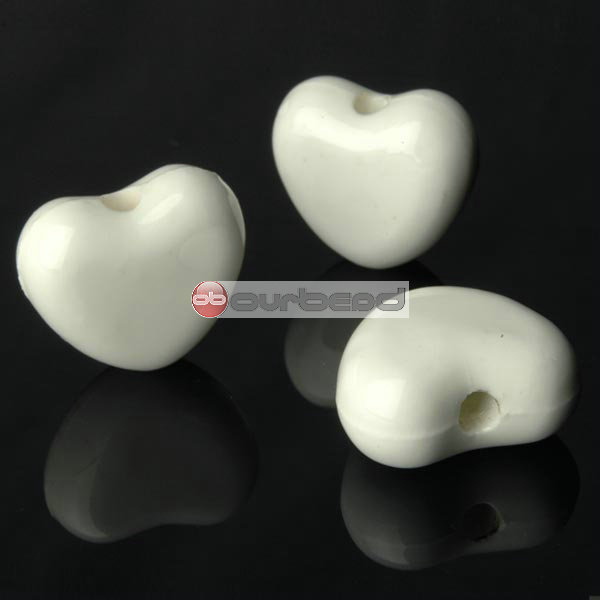 10-Pcs-white-Porcelain-Hearts-Beads-20mm-PB0063