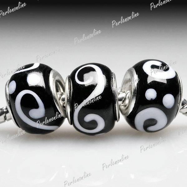5-Lampwork-Glas-Perlen-Grossloch-Weihnachten-fuer-Armband-Kette-basteln-LB0121