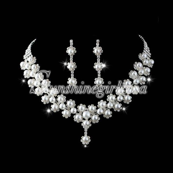Women Pearl Wedding Party Necklace Earrings Crown Bracelet Jewelry Set Wholesale