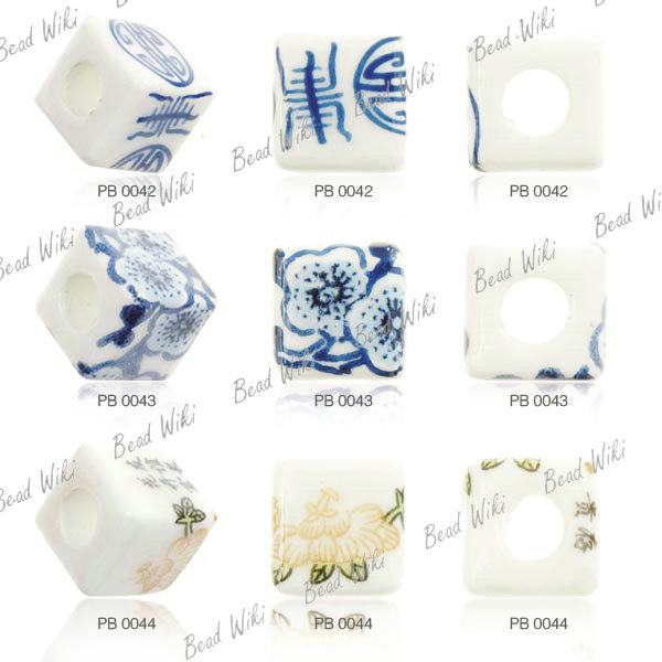 15 Loose Porcelain Ceramic Cube Flower Chinese White Blue Spacer Bead Choose PB