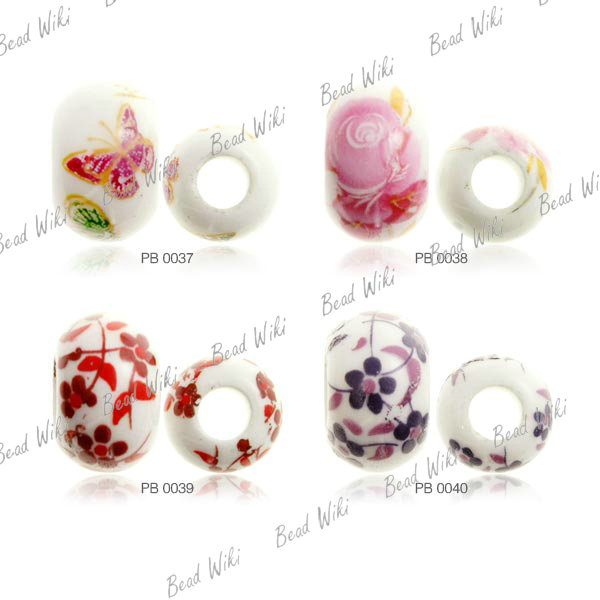 15 Loose Porcelain Ceramic Round Flower Animal White Charm Spacer Bead Choose PB