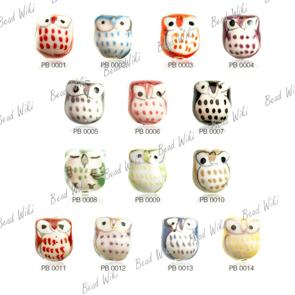 10 Loose Porcelain Ceramic Animal Bird Owl Charm Spacer Bead Choose PB