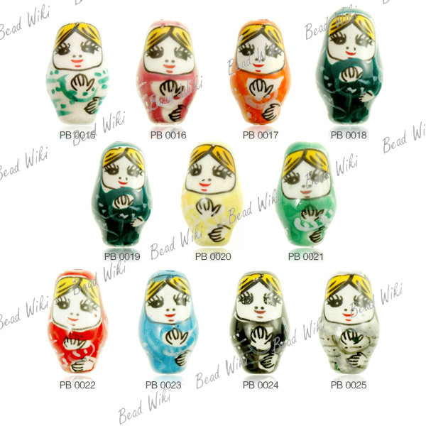 10 Loose Porcelain Ceramic Lovely Russian Doll Charm Spacer Bead Choose PB