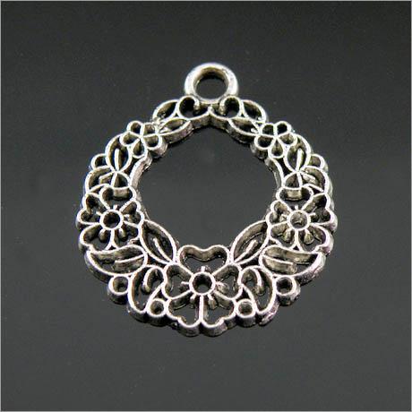 5Pcs Tibetan Silver Flower Circle Charms Pendants 30mm LA351