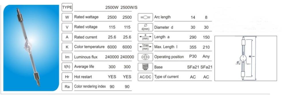 high-quality 2500//L 2500W //GS stage light lamp bulb metal halide bulb