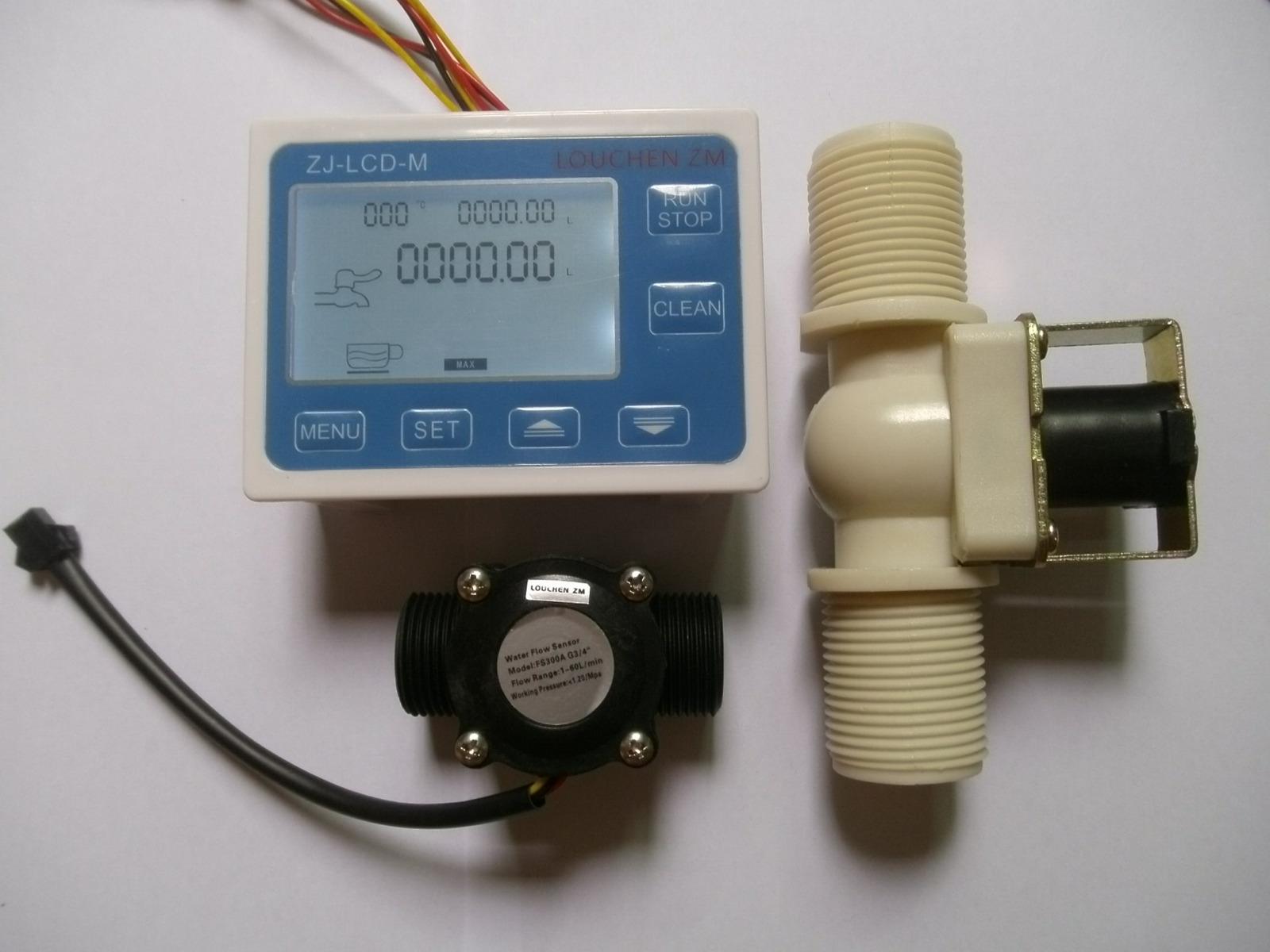 """Solenoid valve NEW G1//4/"""" Water Flow Control LCD Meter Flow Sensor"""