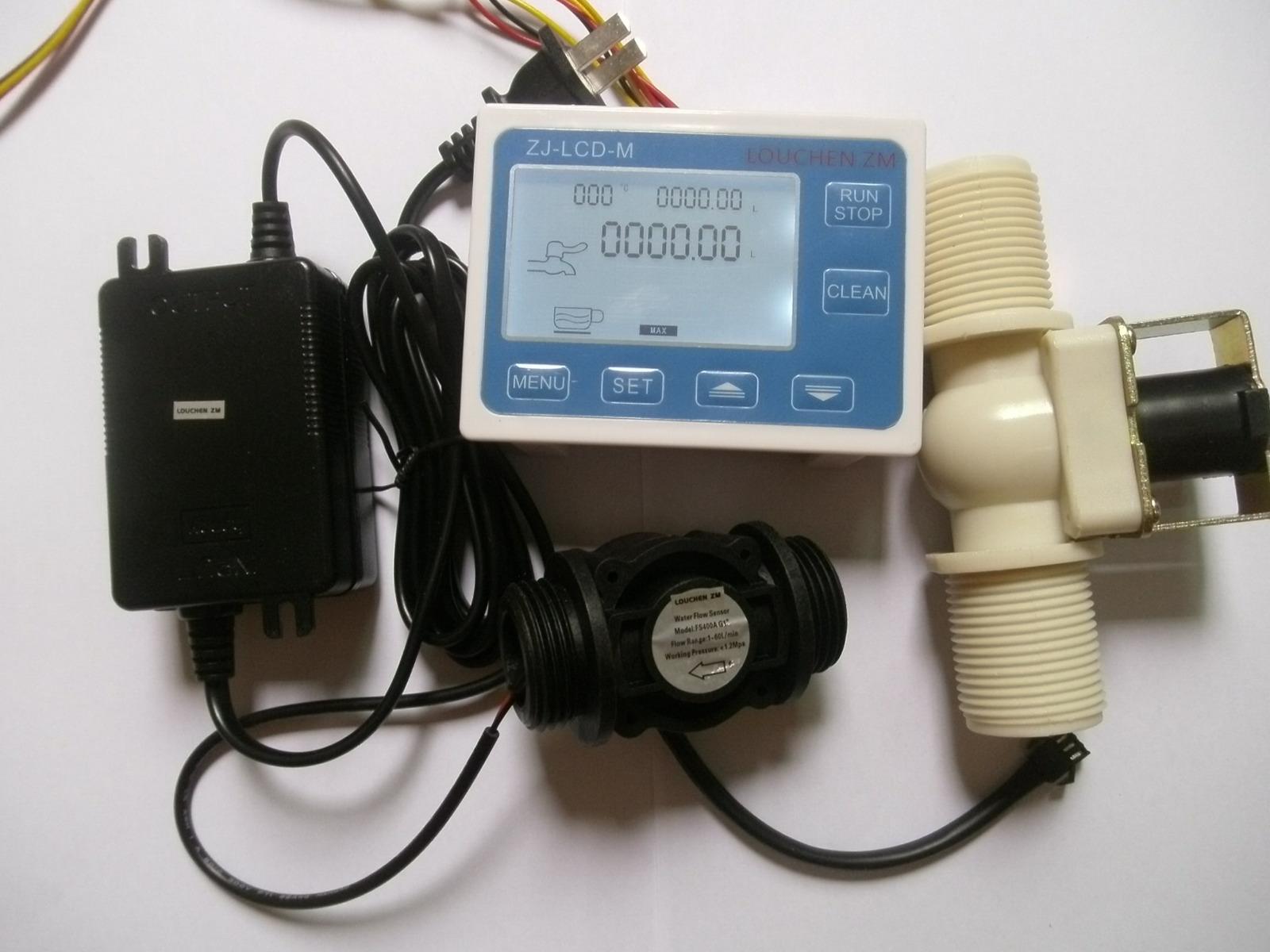"G1//4/"" Water Flow Control LCD Display+Flow Sensor Power Adapter Solenoid valve"