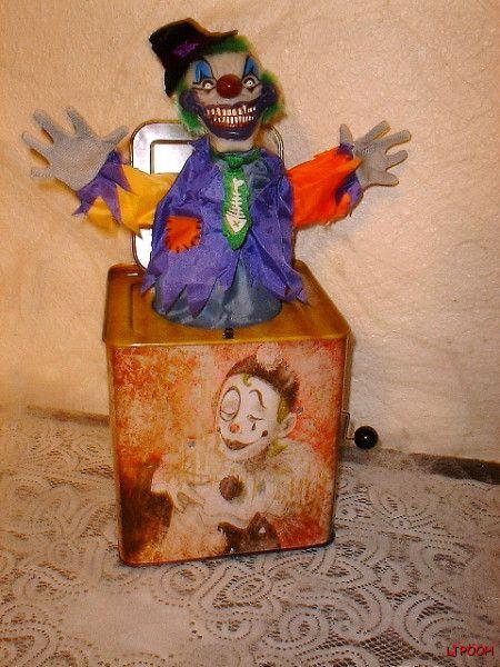 Demon Clown Jack in The Box Halloween Prop Posessed Demonic Toy Talks