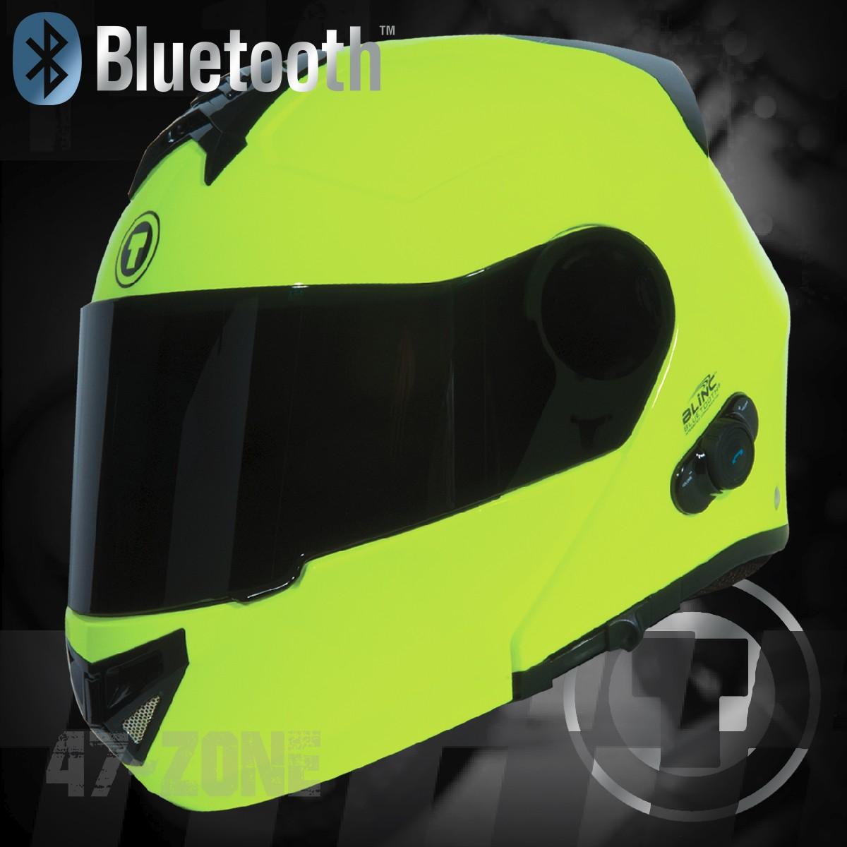 Torc Avenger T27 Hiviz Green Yellow Bluetooth Modular Motorcycle