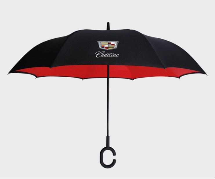 Windproof C-Handle Double Layer Upside Down Folding Logo Umbrella For Cadillac