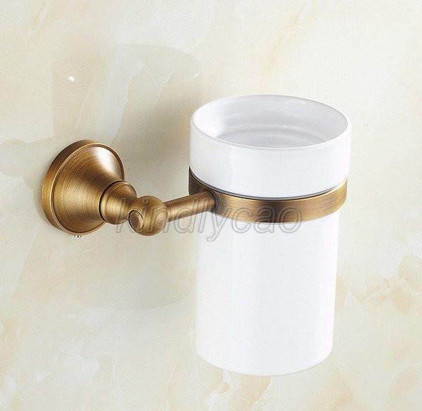 Ceramic Cup Wall Mount Kba490 Antique Brass Toilet Brush Set Holder Brush
