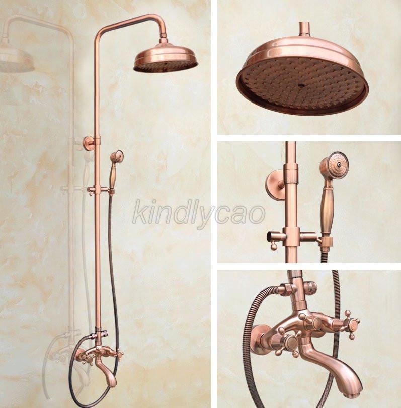 Gold Brass Wall Mount Bathroom Tub Faucet Mixer Tap W//Hand Shower Set Ktf401