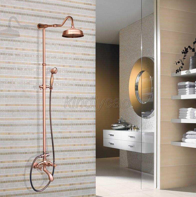 """Antique Red Copper Bathroom 8"""" Rain Shower Faucet Set Tub Spout Mixer Tap Krg646"""