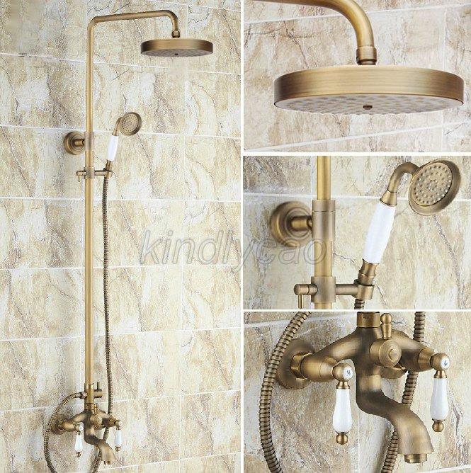 Antique Brass Wall Mount Bathroom Rain Shower Faucet Set W// Tub Mixer Tap Krs187