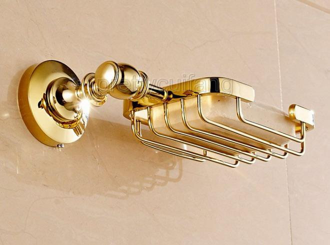 Luxury Gold Color Brass Wall Mounted Bathroom Wire Soap Dish Holder Pba094