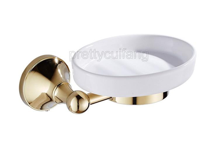 Luxury Gold Color Brass Wall Mounted Bathroom Ceramics Soap Dish Holder Pba878