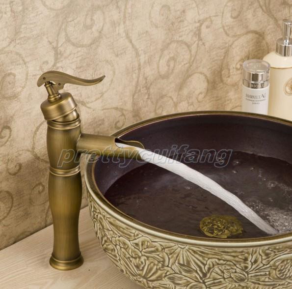 Antique Brass Bathroom Sink Vessel Faucet One Hole Basin Mixer Tap Pnf019