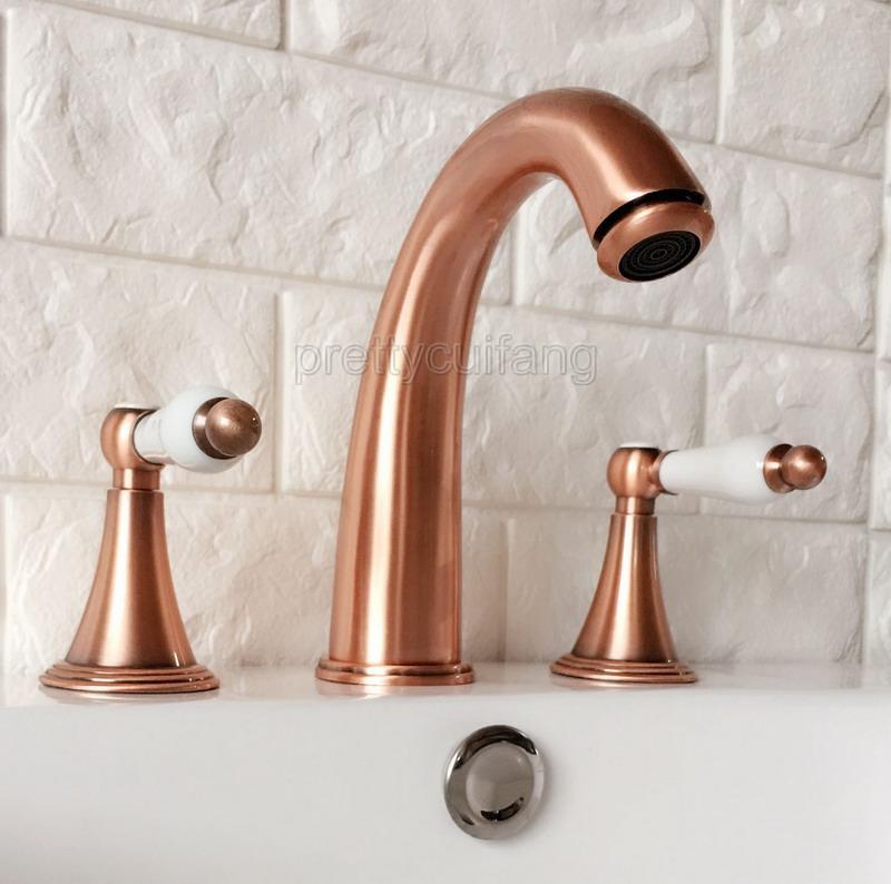 Antique Red Copper Widespread 2-Handle 3 Holes Bathroom Tub Basin Faucet Prg038