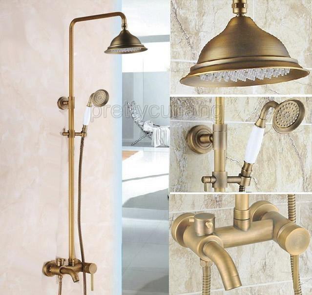 Antique Brass Brass Wall Mounted Bathroom Hand Held Shower Faucet Set Ptf300