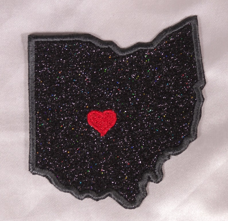 Details about Embroidered Black Glitter Sparkle Ohio OH Love State Patch  Applique Iron On Sew
