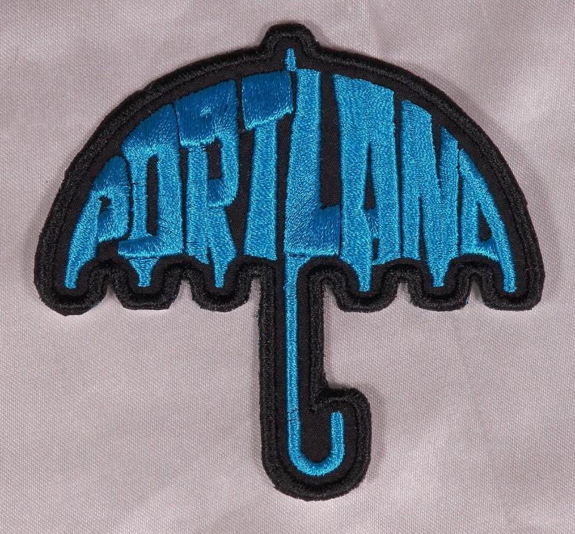 Embroidered Retro Mod Aqua Blue Portland Umbrella Patch Applique Iron On Sew