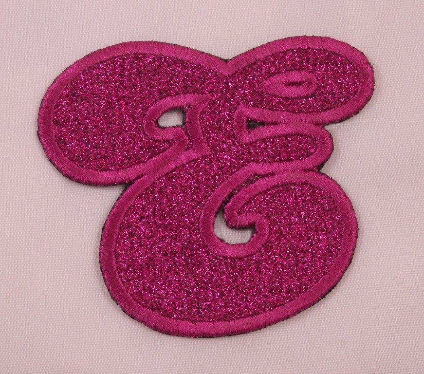 Embroidered Glitter Pink Retro Bubble Monogram Letter V Applique Patch Iron On