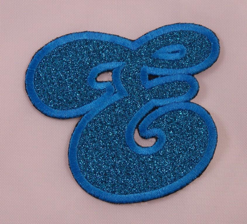 Details about Embroidered Glitter Aqua Blue Bubble Monogram Letter E  Applique Patch Iron On