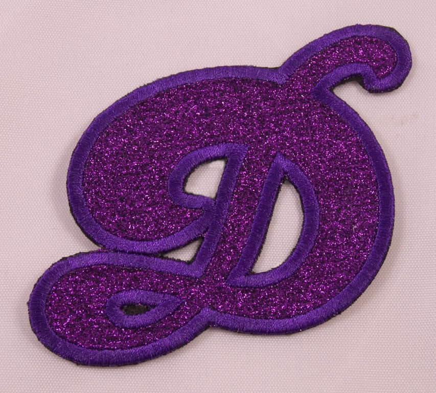 Details about Embroidered Glitter Deep Purple Bubble Monogram Letter D  Applique Patch Iron On