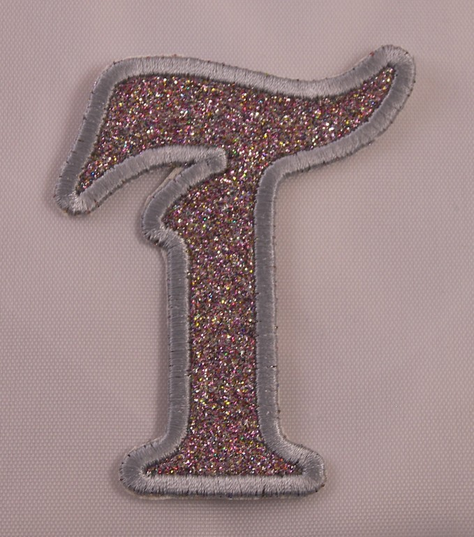 Embroidered Glitter Rainbow Retro Mod Monogram Letter Q Applique Patch Iron On