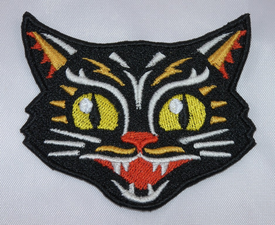 Embroidered retro vntage lucky black cat halloween applique jacket