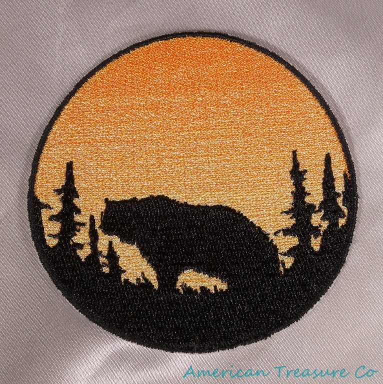 Embroidered Pacific Northwest Art Grizzly Bear Circle Patch Iron On Sew On USA