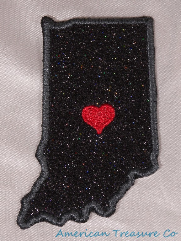 Embroidered Black Glitter Sparkle Indiana IN Love State Patch Iron On Sew On USA