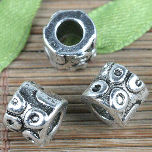 30pcs tibetan silver color lined textured spacer bead  EF2600