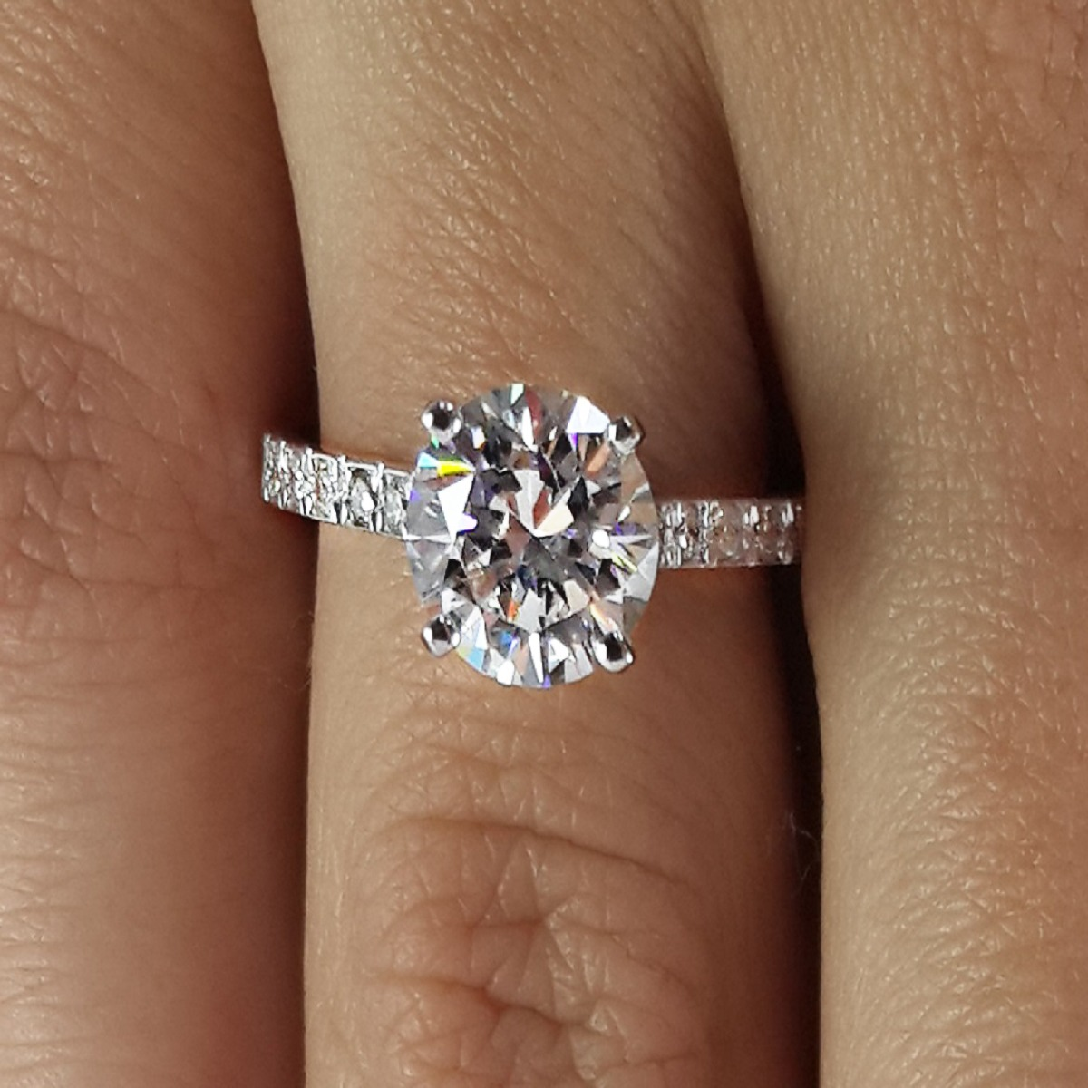 on ring engagement diamond man finger wedding profile low solitaire rings rose carat