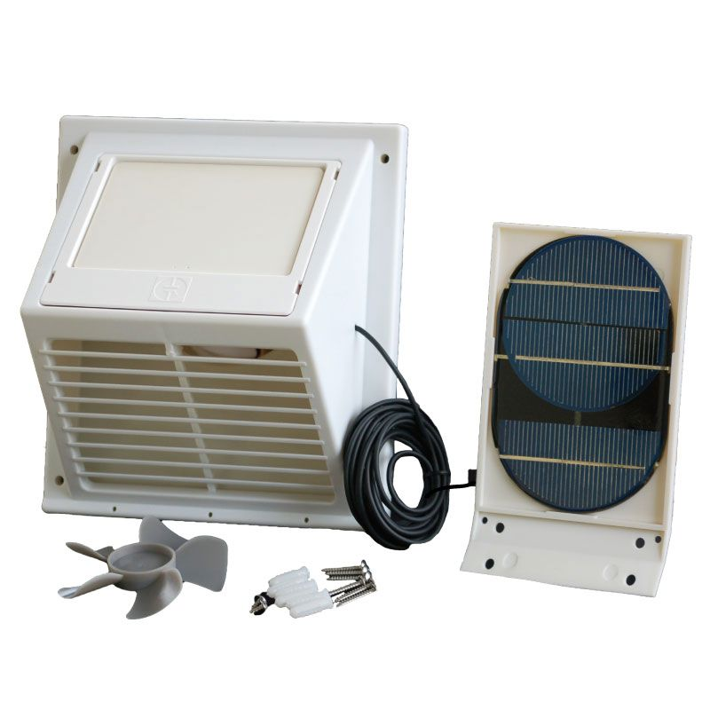 Sunvent Solar Separated Panel Powered Wall Vent Fan White