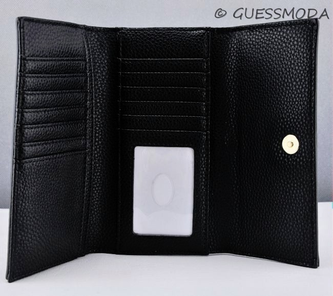 Details about NWT Wallet GUESS Quattro G Flap Black New Ladies
