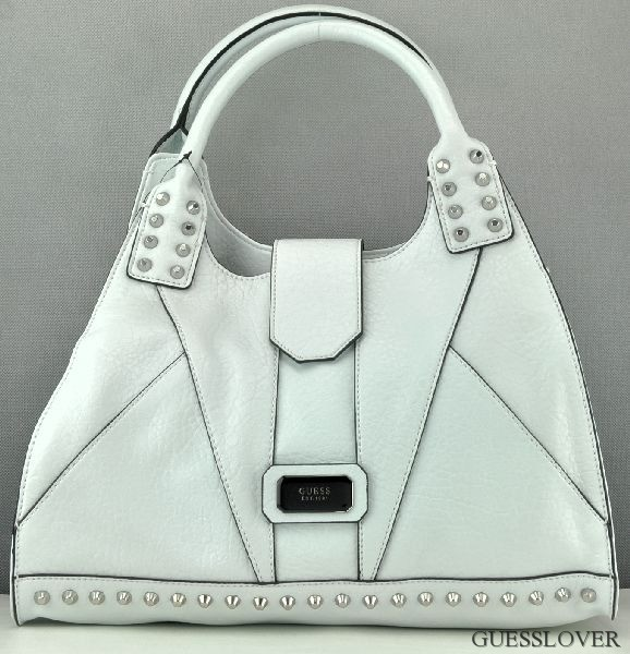 Details about NEW Bag GUESS Rebel Stud Satchel Womens White Neuf show original title