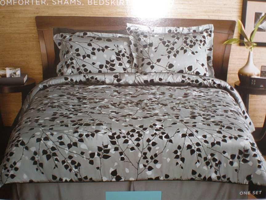 Modern Home Flocked Leaf Comforter Set-Black/Charcoal