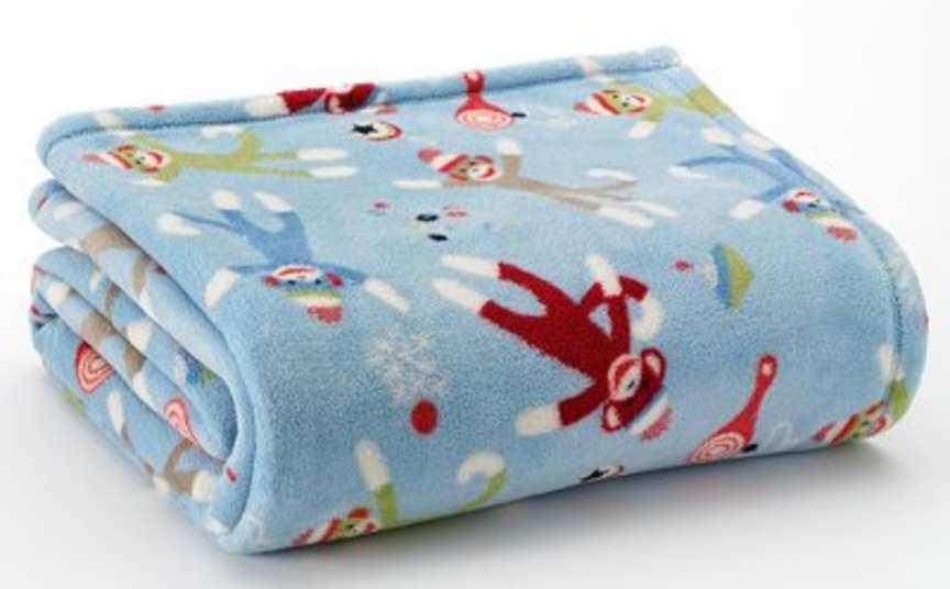 Sock Monkey Blanket Blue Big One Micro Plush Fleece