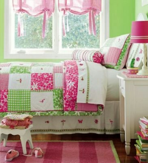 Pottery Barn Pink Paint: Pottery Barn Kids Knock-Off Pink/Green Girl's Quilt At