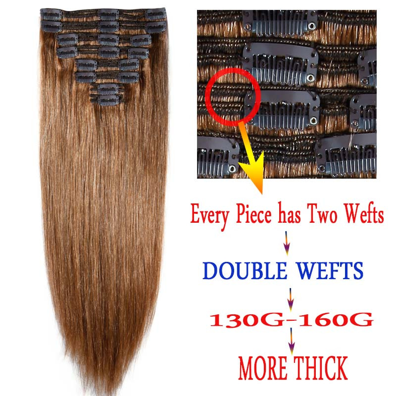 Us double weft clip in remy human hair extensions full head thick you can refer to the model hair length and select the length you want and choose the color which matches your own hairy light color can be dyed into pmusecretfo Image collections